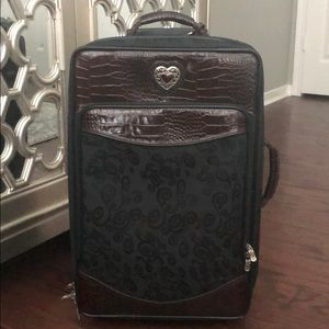 "Brighton 22"" Rolling Suitcase in Black and Brown"